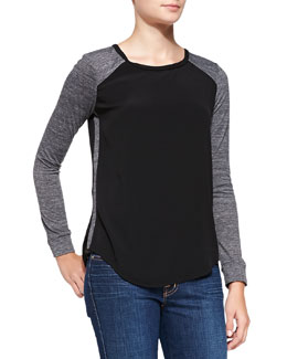 Rebecca Taylor Stacy Long-Sleeve Combo Top