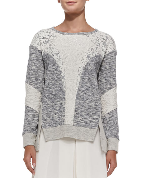 Mixed-Fabric Patchwork Pullover Sweater