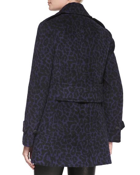 Leopard-Print Felt Pea Coat