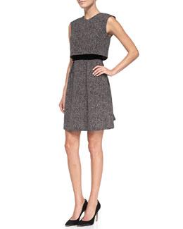 Rebecca Taylor Techy Herringbone-Print Double-Layer Dress