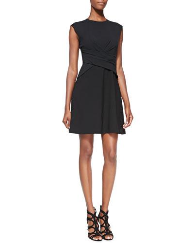 Rebecca Taylor Diamond Wrap Short-Sleeve Dress