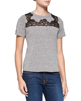 Rebecca Taylor Lace-Inset Short-Sleeve Top