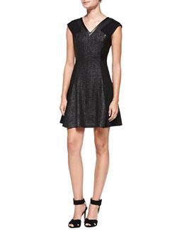 Rebecca Taylor Twill Combo Sleeveless Dress