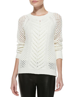 Rebecca Taylor Short Cable Knit Long-Sleeve Pullover