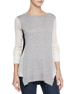 Rebecca Taylor Colorblock Slub/Perforated Combo Sweater