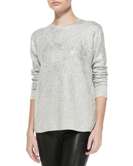 Rebecca Taylor Foil Long-Sleeve Pullover