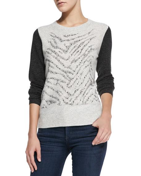 Rebecca Taylor Long-Sleeve Liger Stud Pullover