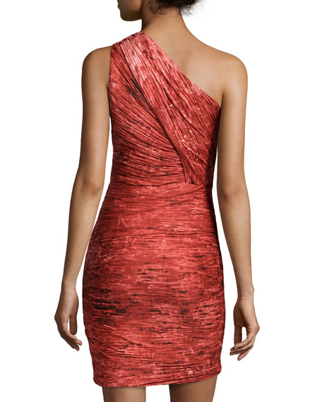 Pleated Ruched One-Shoulder Dress, Pomegranate