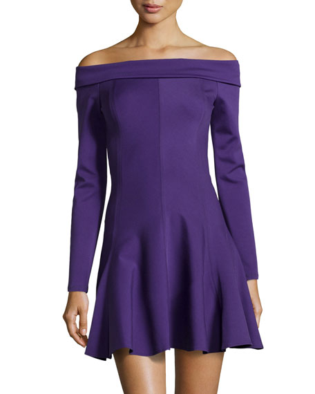 Long-Sleeve Off-The-Shoulder Ponte Dress, Eggplant