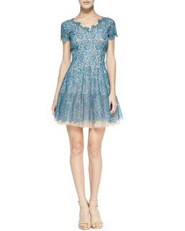 Nha Khanh Caelyn Tulle-Hem Lace Dress, Teal