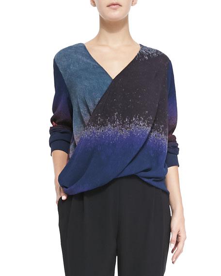 Silk Wrap-Front Blouse