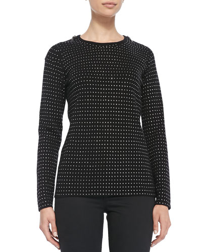 Sofia Cashmere Sequined Cashmere Sweater with Zip Detail