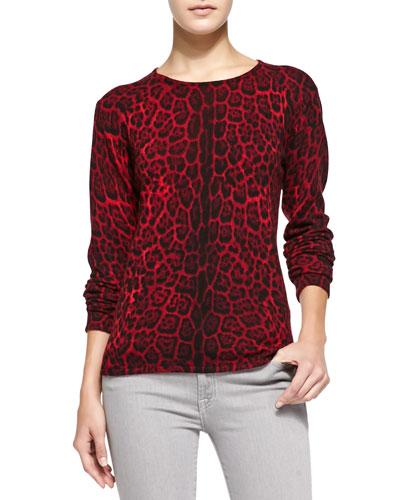 Neiman Marcus Leopard-Print Cashmere Pullover