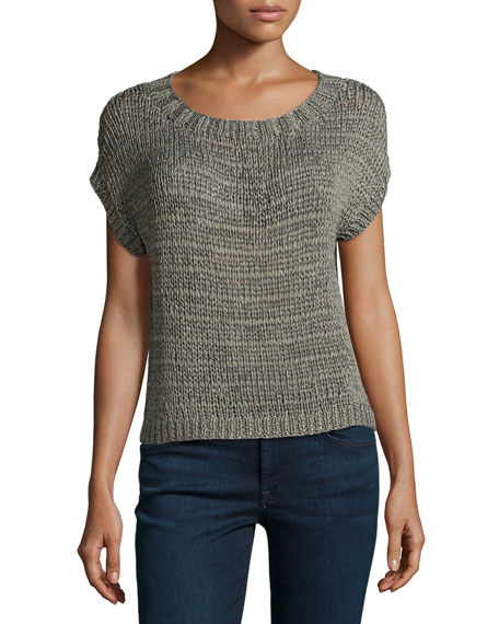 Short-Sleeve Shimmer Loop Sweater, Gray/Gold