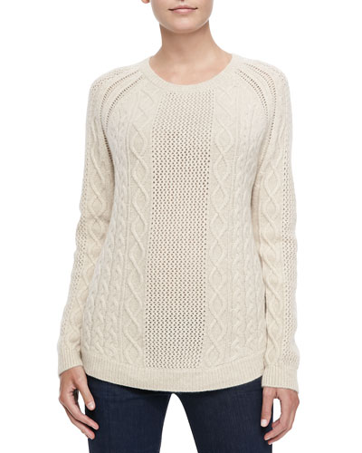 Neiman Marcus Cashmere Ribbed Cable Sweater