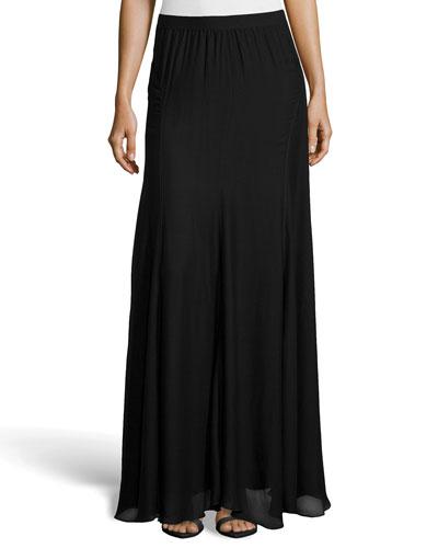 Paneled Chiffon Maxi Skirt, Black