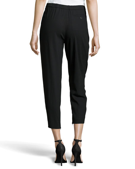 Pleated Cropped Wool-Knit Trousers, Black