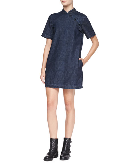 Short-Sleeve Japanese Denim Dress