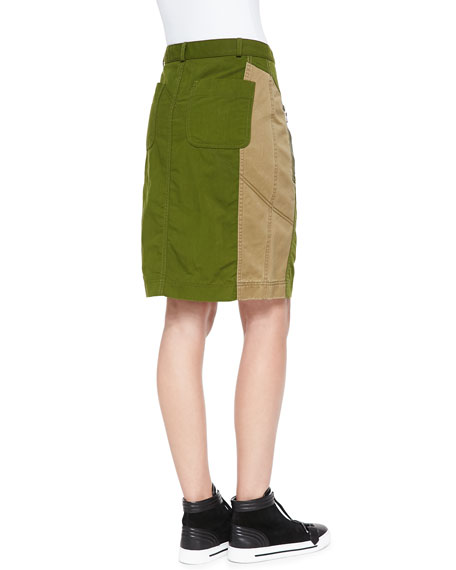 Army Nylon Pencil Skirt