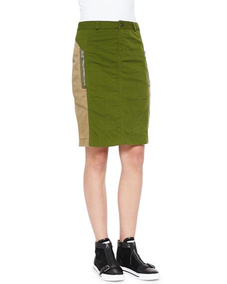 Army Nylon Pencil Skirt