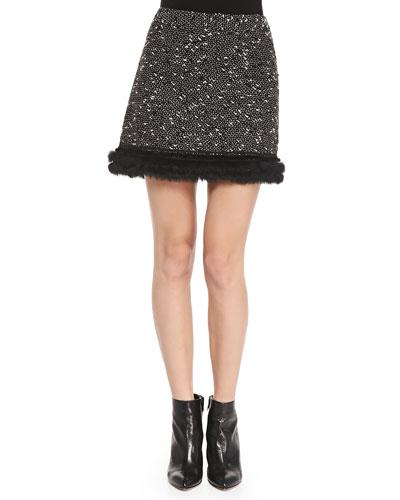 Nanette Lepore Undercover Fur-Trim Tweed Skirt