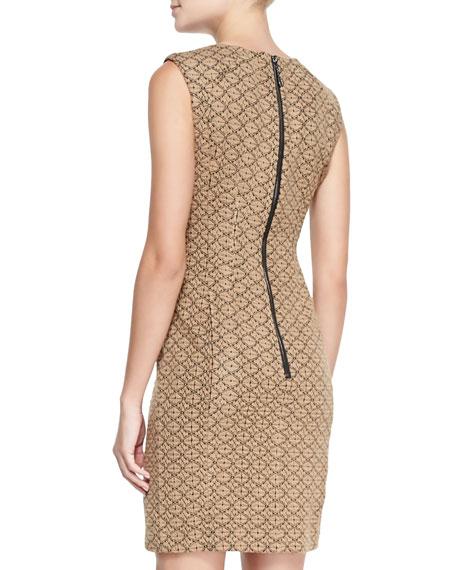 Looking Glass Leather-Shoulder Sheath Dress