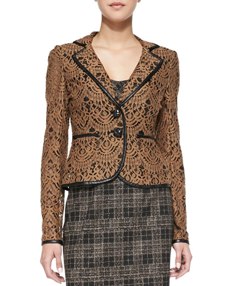 I Spy Leather-Trim Lace Jacket, Camel