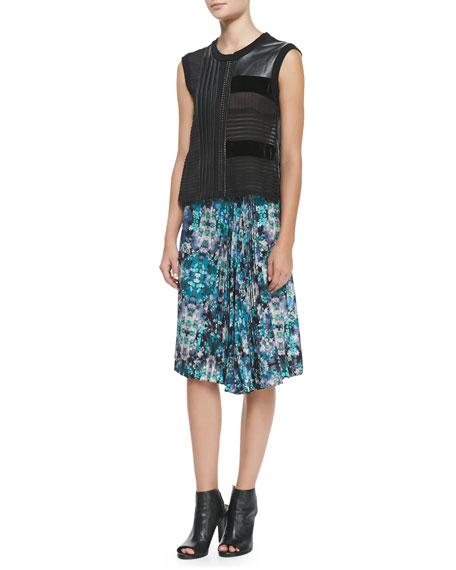 Foul Play Pleated Floral-Print Skirt