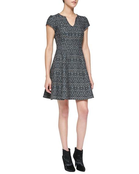 Breakthrough Split-Neck Jacquard Dress