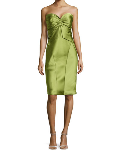 Twist-Pleated Strapless Cocktail Dress, Lime