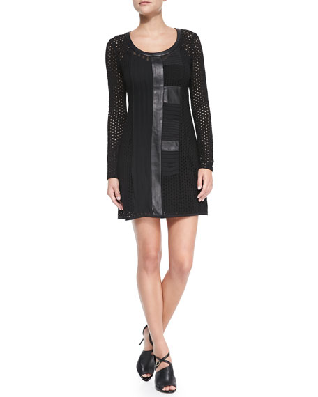 Wasn't Me Patchwork Long-Sleeve Dress
