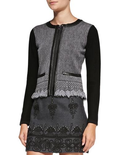 Nanette Lepore Intrigue Leather-Trim Tweed Jacket