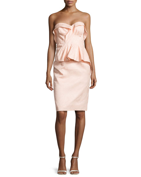Zac Posen Floral-Brocade Fold-Pleated Peplum Dress, Powder Pink