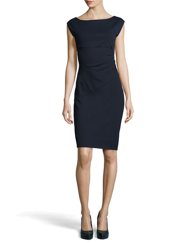 Diane von Furstenberg Knee-Length Ponte Dress, Navy