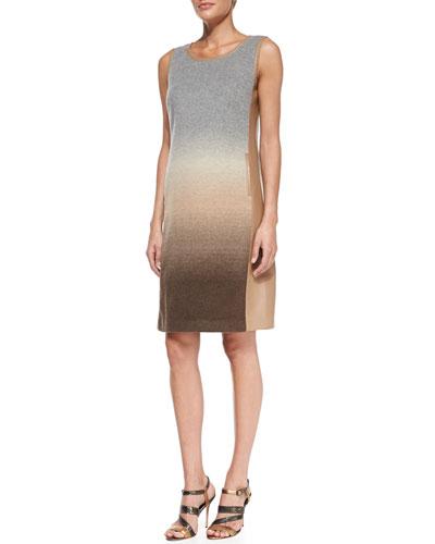 Lafayette 148 New York Caroline Wool-Blend Dress with Faux-Leather Trim
