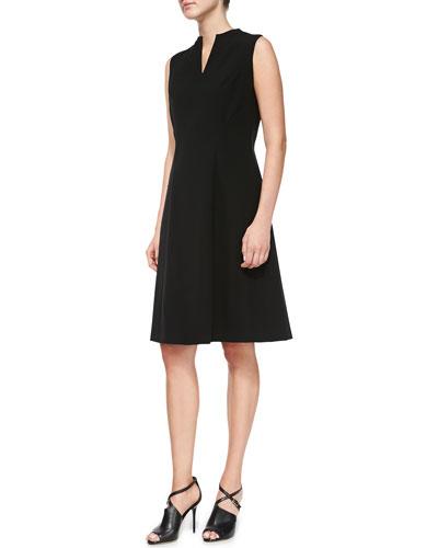 Lafayette 148 New York Ava Knit Split-Neck Dress