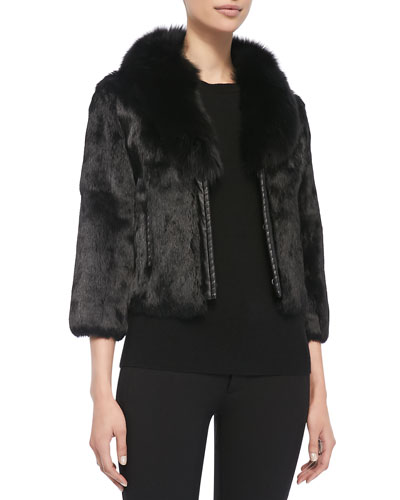 Neiman Marcus Rabbit Fur Jacket w/ Fox Collar