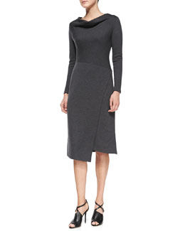 Lafayette 148 New York Long-Sleeve Wool Draped-Neck Dress