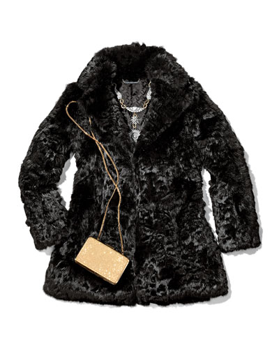 Neiman Marcus Laser-Cut Rabbit Fur Coat
