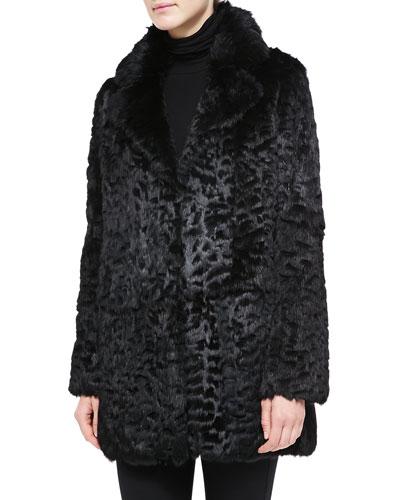 Neiman Marcus Laser-Cut Rabbit Fur Coat