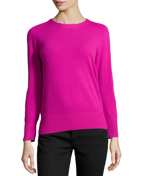 Cashmere-Blend Back-Zip Sweater, Gardenia