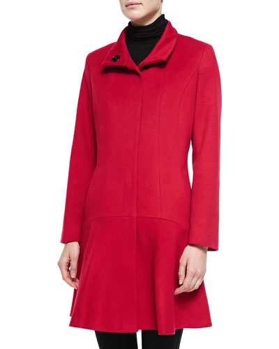 Neiman Marcus Wool-Cashmere Princess Flared Coat