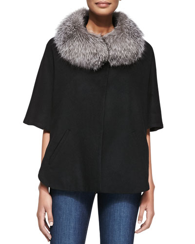 Neiman Marcus Evening Fur-Trim Cape