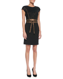 Lafayette 148 New York Cap-Sleeve Combo Sheath Dress