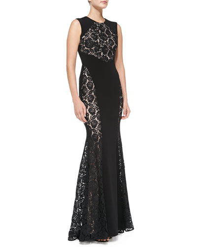 Nha Khanh Stella Lace-Panel Mermaid Gown