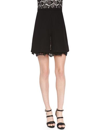 Nha Khanh Nixie Lace-Hem A-Line Skirt