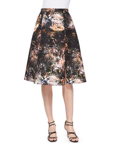 Nha Khanh Vivian Galaxy-Print Sateen Skirt