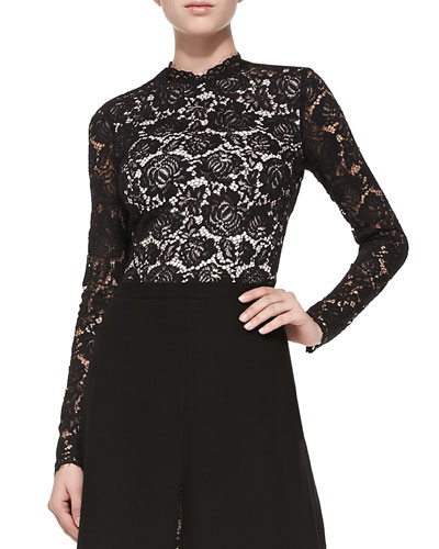 Nha Khanh Pandora Long-Sleeve Lace Top
