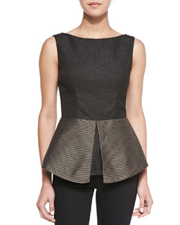 Nha Khanh Luna Sleeveless Metallic Peplum Top