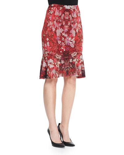 Fuzzi Floral Tulle Flared-Hem Skirt